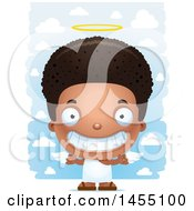 Clipart Graphic Of A 3d Grinning Black Angel Boy Over Clouds Royalty Free Vector Illustration
