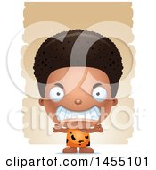 Clipart Graphic Of A 3d Mad Black Caveman Boy Over Strokes Royalty Free Vector Illustration