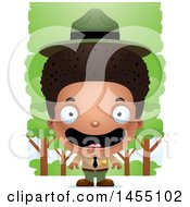 Clipart Graphic Of A 3d Happy Black Park Ranger Boy In The Woods Royalty Free Vector Illustration by Cory Thoman