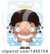 3d Grinning Black Angel Girl Over Clouds