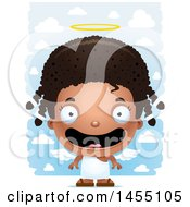 April 26th, 2017: Clipart Graphic Of A 3d Happy Black Angel Girl Over Clouds Royalty Free Vector Illustration by Cory Thoman