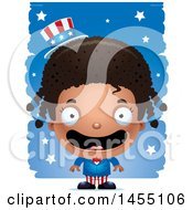 Clipart Graphic Of A 3d Happy Black American Uncle Sam Girl Against Strokes Royalty Free Vector Illustration
