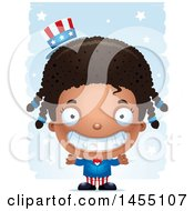 Clipart Graphic Of A 3d Grinning Black American Uncle Sam Girl Against Strokes Royalty Free Vector Illustration