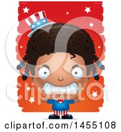Clipart Graphic Of A 3d Mad Black American Uncle Sam Girl Against Strokes Royalty Free Vector Illustration