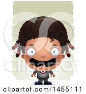 Clipart Graphic Of A 3d Happy Black Business Girl Against Strokes Royalty Free Vector Illustration