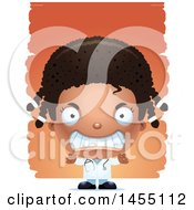 Clipart Graphic Of A 3d Mad Black Girl Doctor Surgeon Over Strokes Royalty Free Vector Illustration