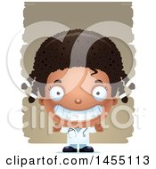 Clipart Graphic Of A 3d Grinning Black Girl Doctor Surgeon Over Strokes Royalty Free Vector Illustration