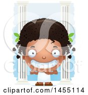 Clipart Graphic Of A 3d Grinning Black Greek Girl With Columns Royalty Free Vector Illustration