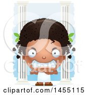 April 26th, 2017: Clipart Graphic Of A 3d Mad Black Greek Girl With Columns Royalty Free Vector Illustration by Cory Thoman