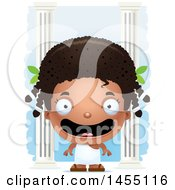 Clipart Graphic Of A 3d Happy Black Greek Girl With Columns Royalty Free Vector Illustration