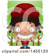 Clipart Graphic Of A 3d Grinning Black Lumberjack Girl In The Woods Royalty Free Vector Illustration