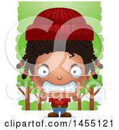 Clipart Graphic Of A 3d Mad Black Lumberjack Girl In The Woods Royalty Free Vector Illustration