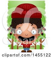 Clipart Graphic Of A 3d Happy Black Lumberjack Girl In The Woods Royalty Free Vector Illustration