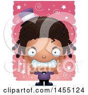 Clipart Graphic Of A 3d Mad Black Magician Girl Over A Spiral And Star Pattern Royalty Free Vector Illustration