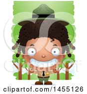 Clipart Graphic Of A 3d Grinning White Park Ranger Girl In The Woods Royalty Free Vector Illustration