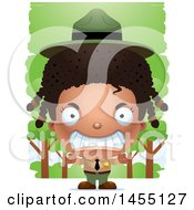 Clipart Graphic Of A 3d Mad White Park Ranger Girl In The Woods Royalty Free Vector Illustration