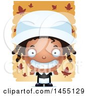 Clipart Graphic Of A 3d Grinning Black Pilgrim Girl Over Leaves Royalty Free Vector Illustration