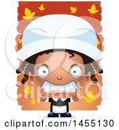 Clipart Graphic Of A 3d Mad Black Pilgrim Girl Over Leaves Royalty Free Vector Illustration