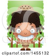Clipart Graphic Of A 3d Grinning Black Safari Girl Against Trees Royalty Free Vector Illustration