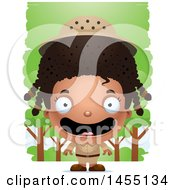 Clipart Graphic Of A 3d Happy Black Safari Girl Against Trees Royalty Free Vector Illustration