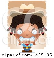 April 26th, 2017: Clipart Graphic Of A 3d Mad Black Girl Cowboy Sheriff Over Strokes Royalty Free Vector Illustration by Cory Thoman