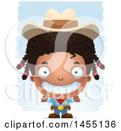 Clipart Graphic Of A 3d Grinning Black Girl Cowboy Sheriff Over Strokes Royalty Free Vector Illustration