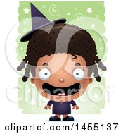 April 27th, 2017: Clipart Graphic Of A 3d Happy Black Witch Girl Over A Spiral And Star Pattern Royalty Free Vector Illustration by Cory Thoman