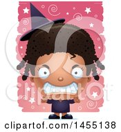 April 27th, 2017: Clipart Graphic Of A 3d Mad Black Witch Girl Over A Spiral And Star Pattern Royalty Free Vector Illustration by Cory Thoman