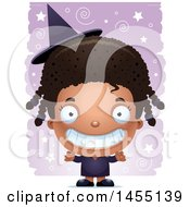 April 27th, 2017: Clipart Graphic Of A 3d Grinning Black Witch Girl Over A Spiral And Star Pattern Royalty Free Vector Illustration by Cory Thoman