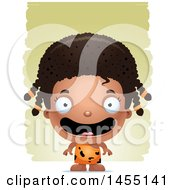 April 27th, 2017: Clipart Graphic Of A 3d Happy Black Caveman Girl Over Strokes Royalty Free Vector Illustration by Cory Thoman