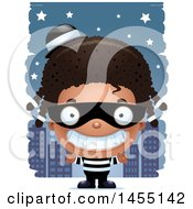 April 27th, 2017: Clipart Graphic Of A 3d Grinning Black Robber Girl Against A City At Night Royalty Free Vector Illustration by Cory Thoman