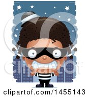 April 27th, 2017: Clipart Graphic Of A 3d Mad Black Robber Girl Against A City At Night Royalty Free Vector Illustration by Cory Thoman
