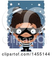 Clipart Graphic Of A 3d Happy Black Robber Girl Against A City At Night Royalty Free Vector Illustration