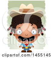 Clipart Graphic Of A 3d Happy Black Girl Cowboy Sheriff Over Strokes Royalty Free Vector Illustration