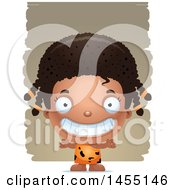 April 26th, 2017: Clipart Graphic Of A 3d Grinning Black Caveman Girl Over Strokes Royalty Free Vector Illustration by Cory Thoman