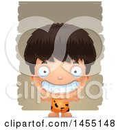Clipart Graphic Of A 3d Grinning Caveman Boy Over Strokes Royalty Free Vector Illustration