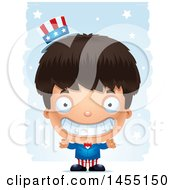 Clipart Graphic Of A 3d Grinning American Uncle Sam Boy Against Strokes Royalty Free Vector Illustration