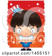 Clipart Graphic Of A 3d Mad American Uncle Sam Boy Against Strokes Royalty Free Vector Illustration
