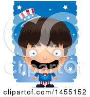 Clipart Graphic Of A 3d Happy American Uncle Sam Boy Against Strokes Royalty Free Vector Illustration
