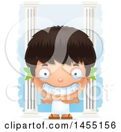 April 27th, 2017: Clipart Graphic Of A 3d Grinning Greek Boy With Columns Royalty Free Vector Illustration by Cory Thoman