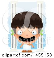 April 27th, 2017: Clipart Graphic Of A 3d Happy Greek Boy With Columns Royalty Free Vector Illustration by Cory Thoman