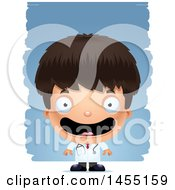 Clipart Graphic Of A 3d Happy Boy Doctor Surgeon Over Strokes Royalty Free Vector Illustration