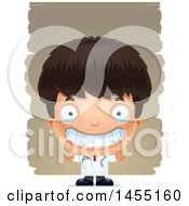 Clipart Graphic Of A 3d Grinning Boy Doctor Surgeon Over Strokes Royalty Free Vector Illustration
