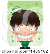 3d Grinning Irish Boy Over St Patricks Day Shamrocks