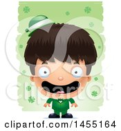 3d Happy Irish Boy Over St Patricks Day Shamrocks