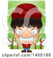Clipart Graphic Of A 3d Mad Lumberjack Boy In The Woods Royalty Free Vector Illustration