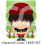 Clipart Graphic Of A 3d Happy Lumberjack Boy In The Woods Royalty Free Vector Illustration