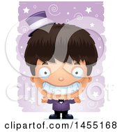 Clipart Graphic Of A 3d Grinning Magician Boy Over A Spiral And Star Pattern Royalty Free Vector Illustration