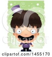 Clipart Graphic Of A 3d Happy Magician Boy Over A Spiral And Star Pattern Royalty Free Vector Illustration
