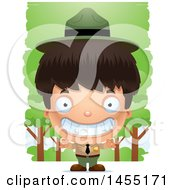 Clipart Graphic Of A 3d Grinning Park Ranger Boy In The Woods Royalty Free Vector Illustration